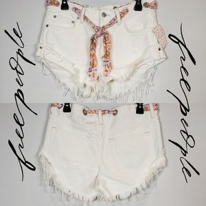 Free People Sashed & Relaxed Distressed Shorts 27